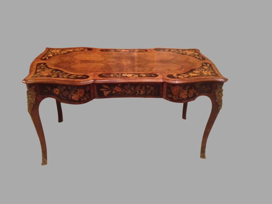 19th century burr walnut writing table