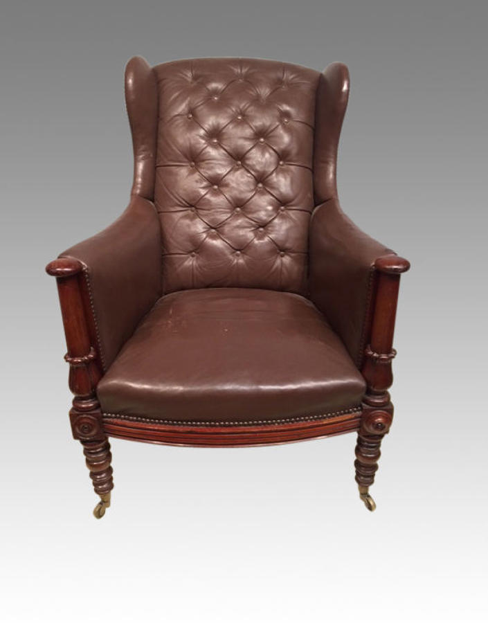 19th century antique  mahogany library chair.