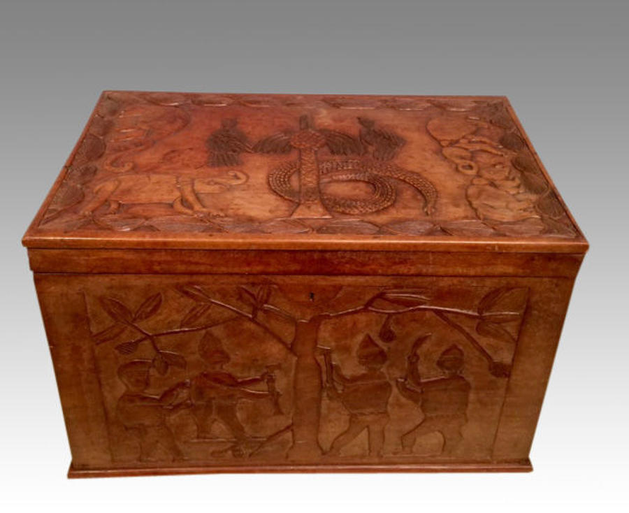 African carved hardwood chest.