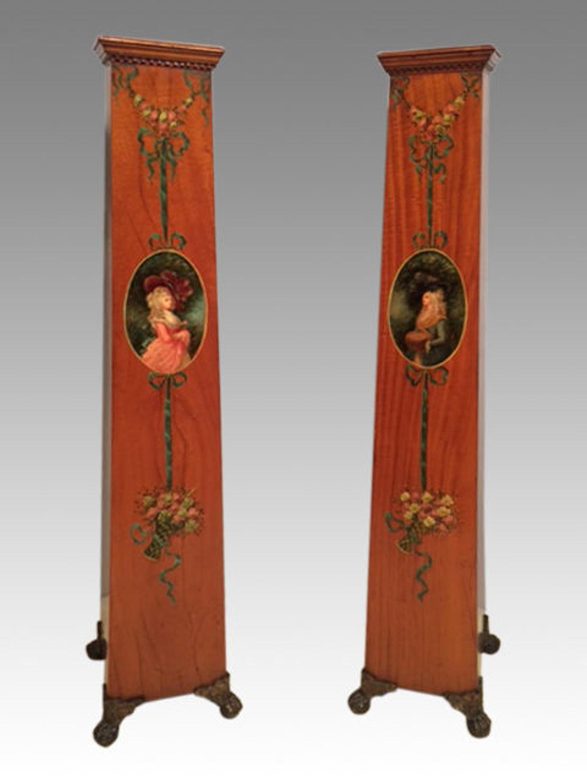 Pair of 19th century satinwood pedestals.