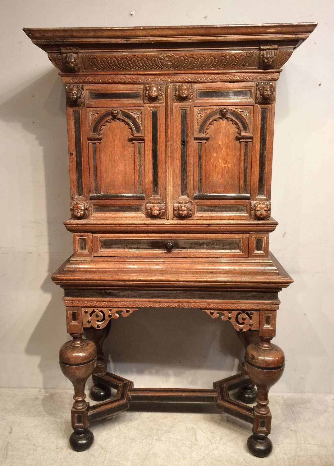 17th century antique Flemish oak cabinet on stand.