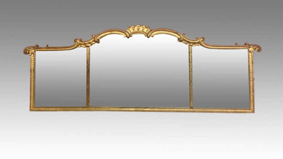 18th century antique carved giltwood landscape mirror.