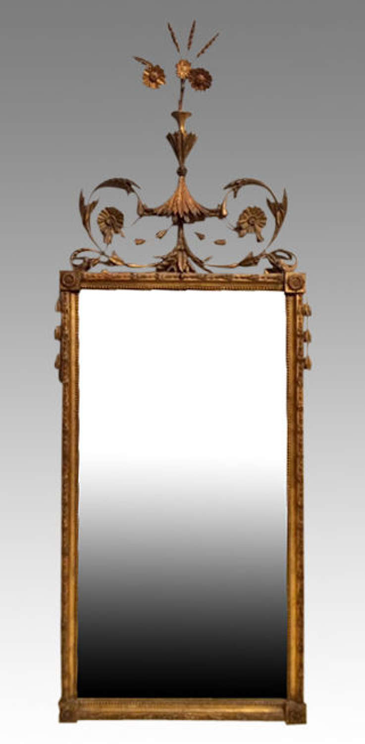 Geo III  antique carved giltwood pier mirror.