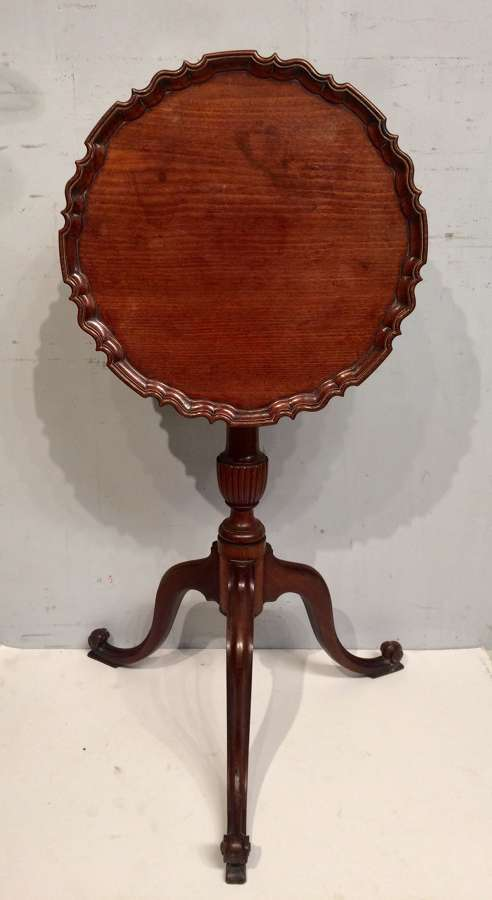 Antique mahogany piecrust top wine table.