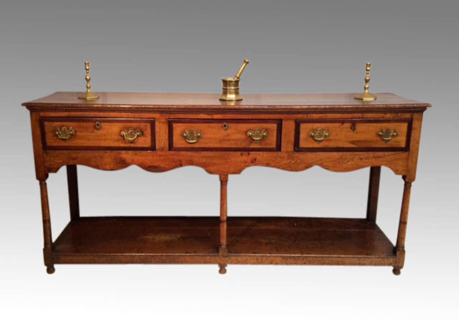 18th century antique elm dresser base.