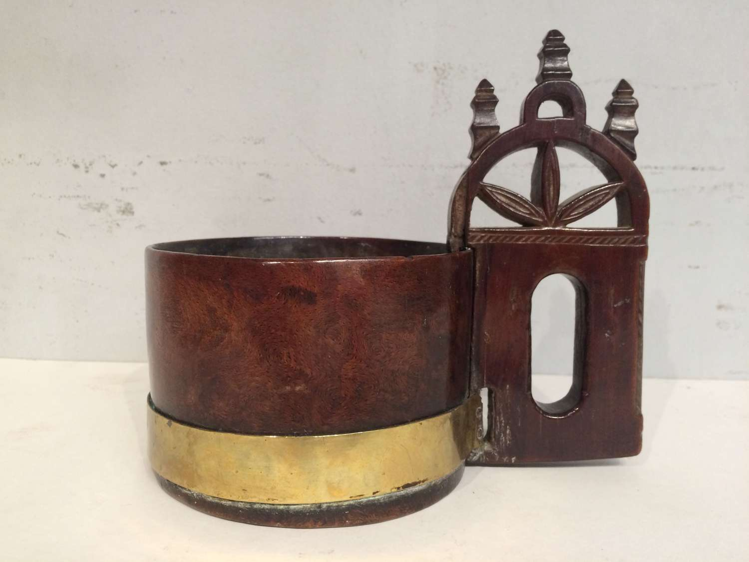 18th century antique fruitwood brass bound  tankard.