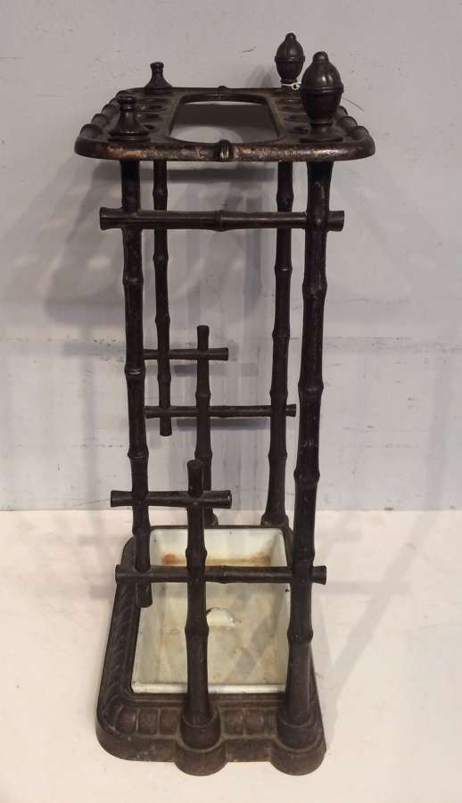 19th century iron stickstand with bamboo decoration.