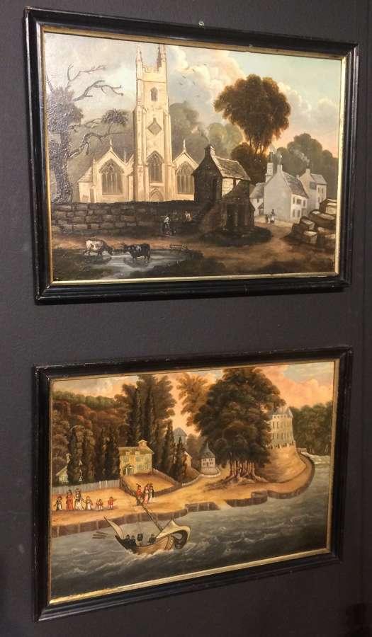 Pair of 19th century primitive oilpaintings of Mount Edgcumbe.