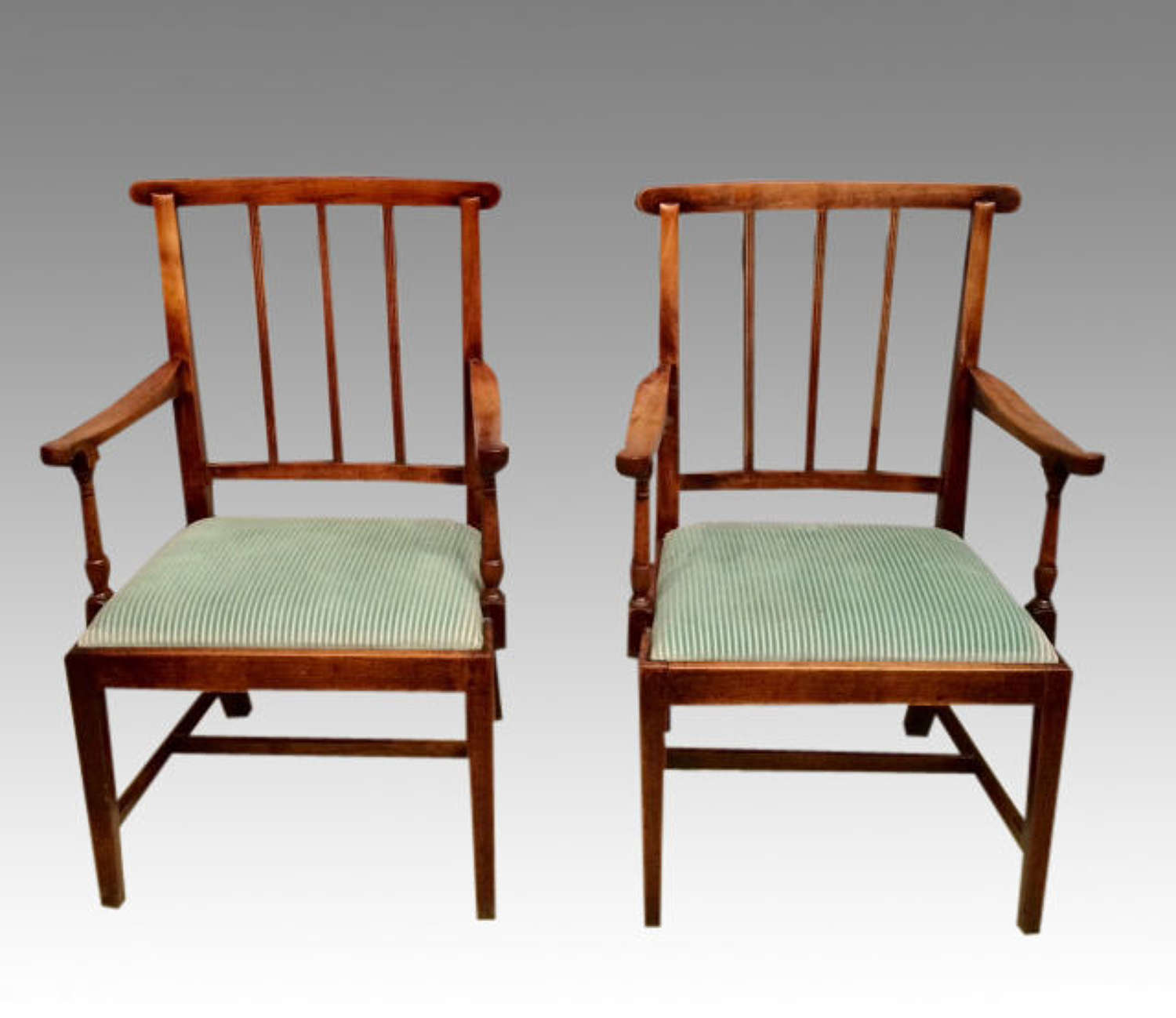 Pair of Georgian antique fruitwood armchairs.