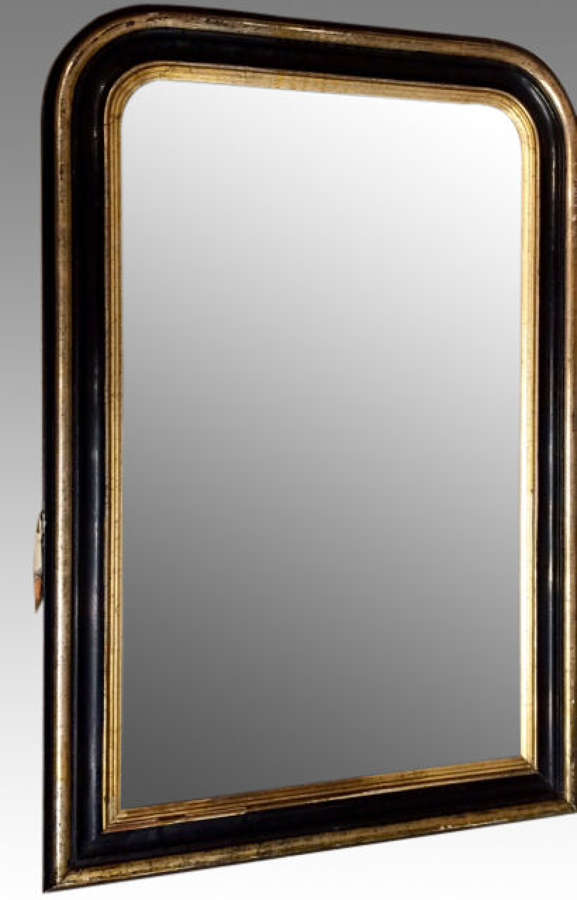 19th century French black and gilt pier mirror.