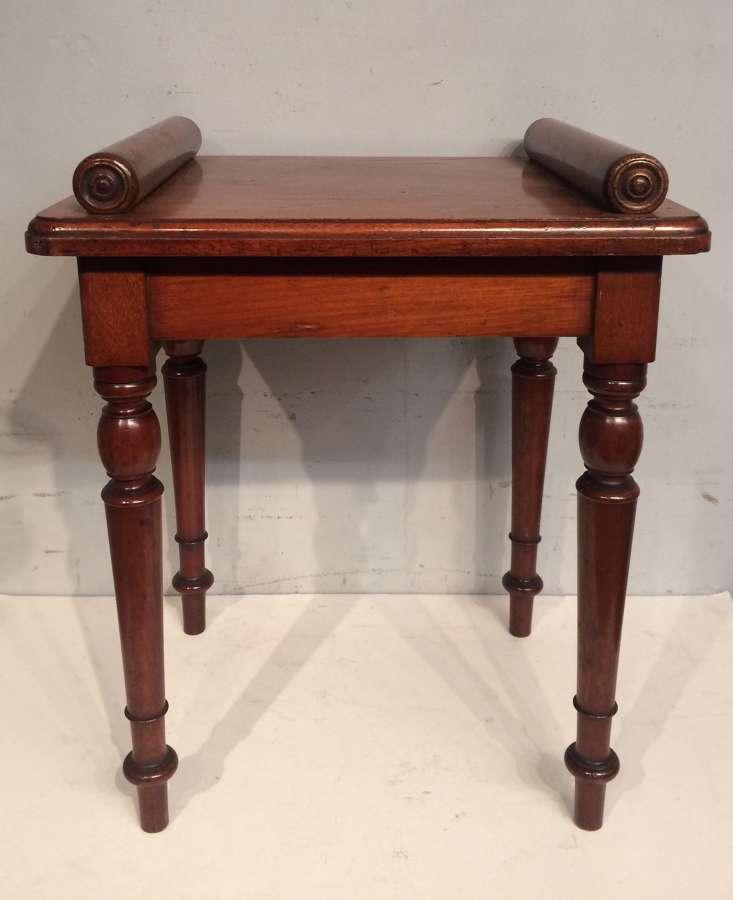 Small 19th century antique mahogany hall seat.