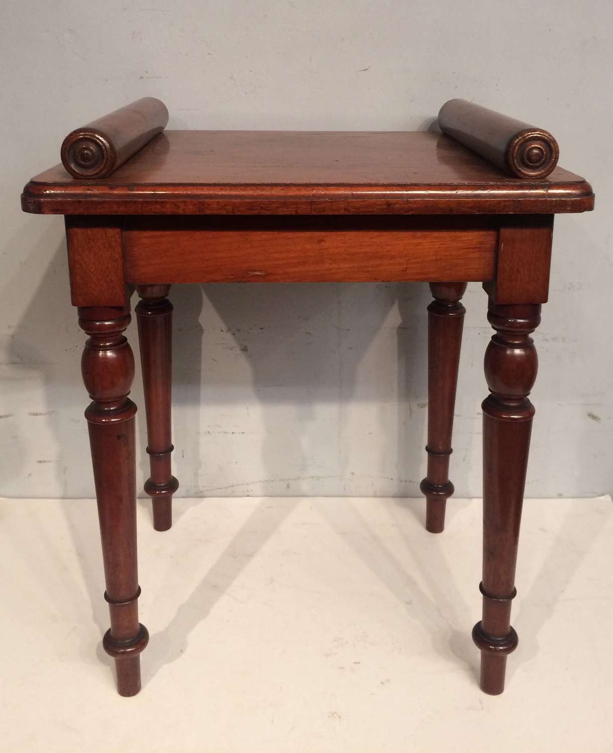 Small 19th century antique mahogany hall seat.