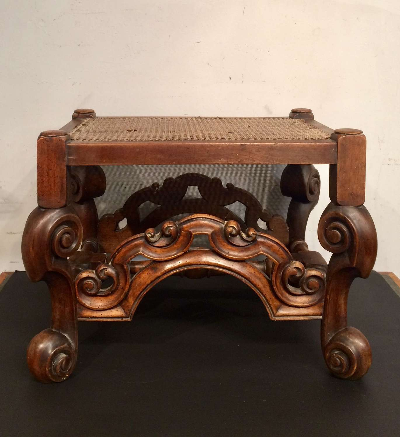 19th century antique Carolean style walnut stool.