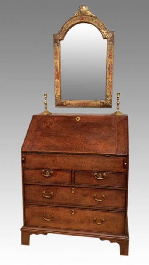 Small Georgian antique oak bureau.