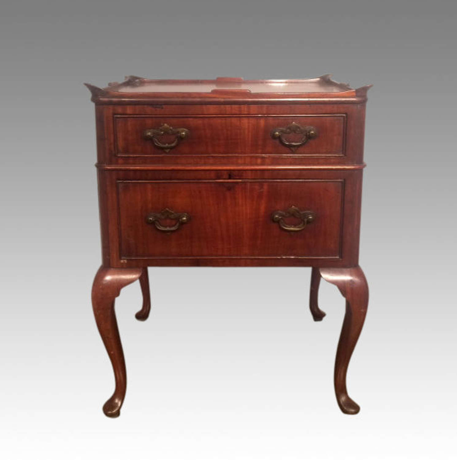 19th century antique mahogany cabriole leg bedside table