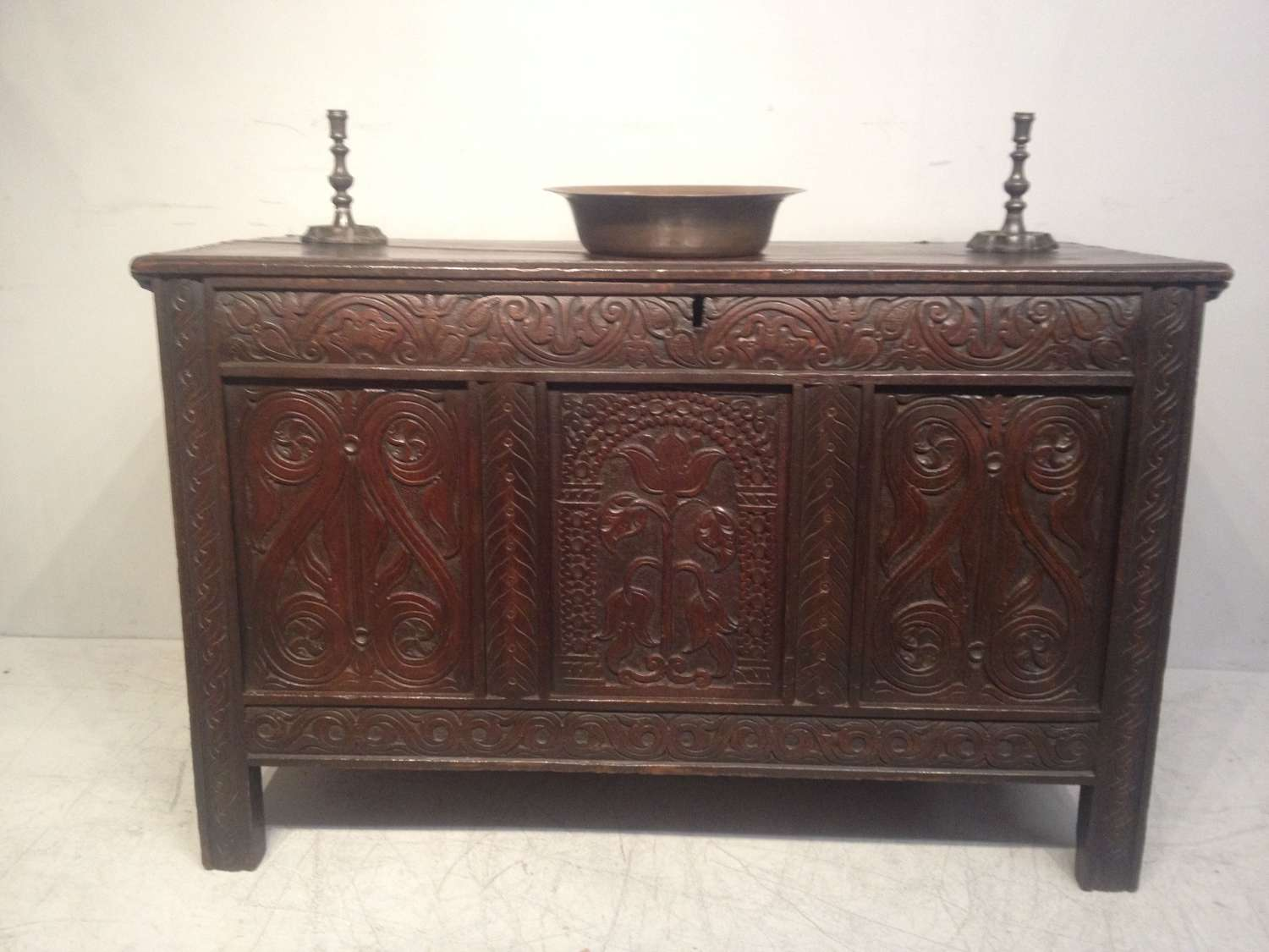 17th century antique West Country carved oak coffer.
