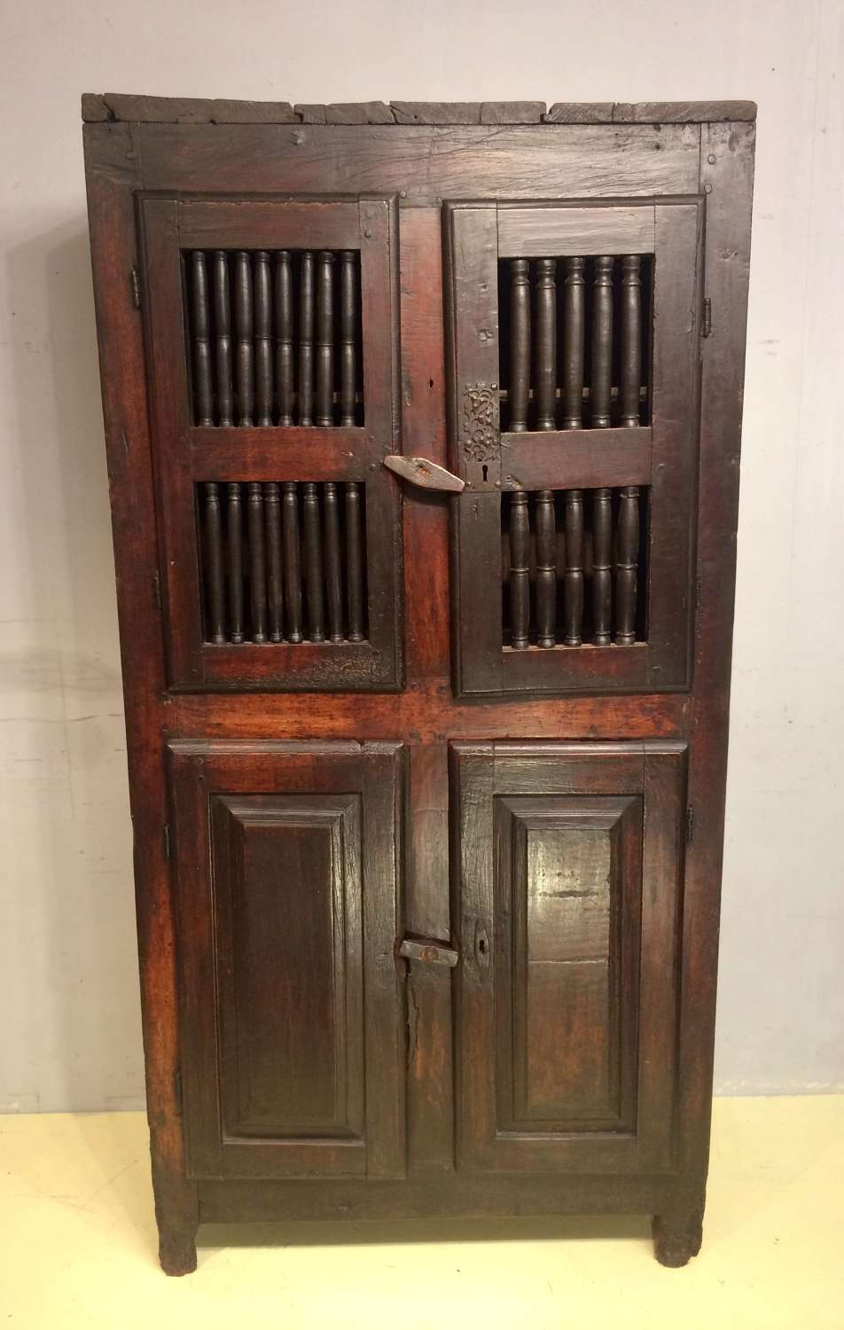 18th century French walnut food cupboard.