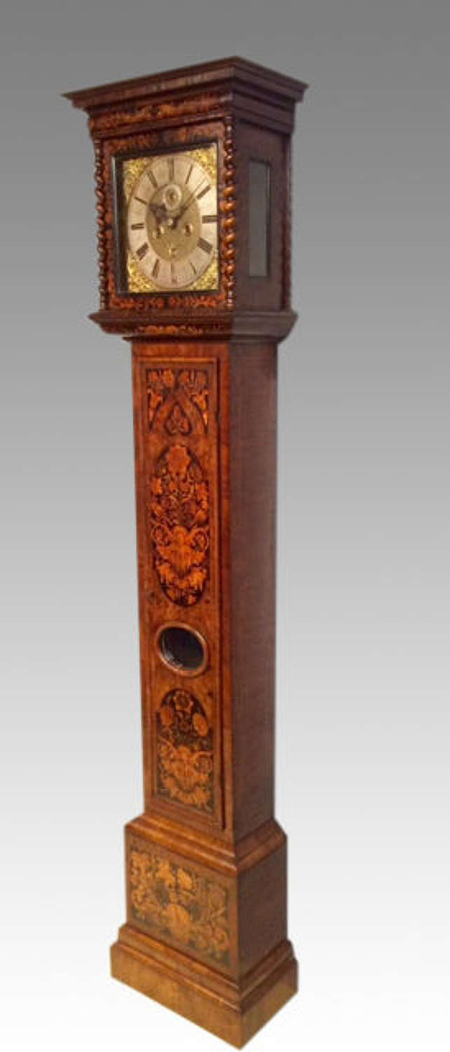 William and Mary marquetry longcase clock by Crucifex of London.