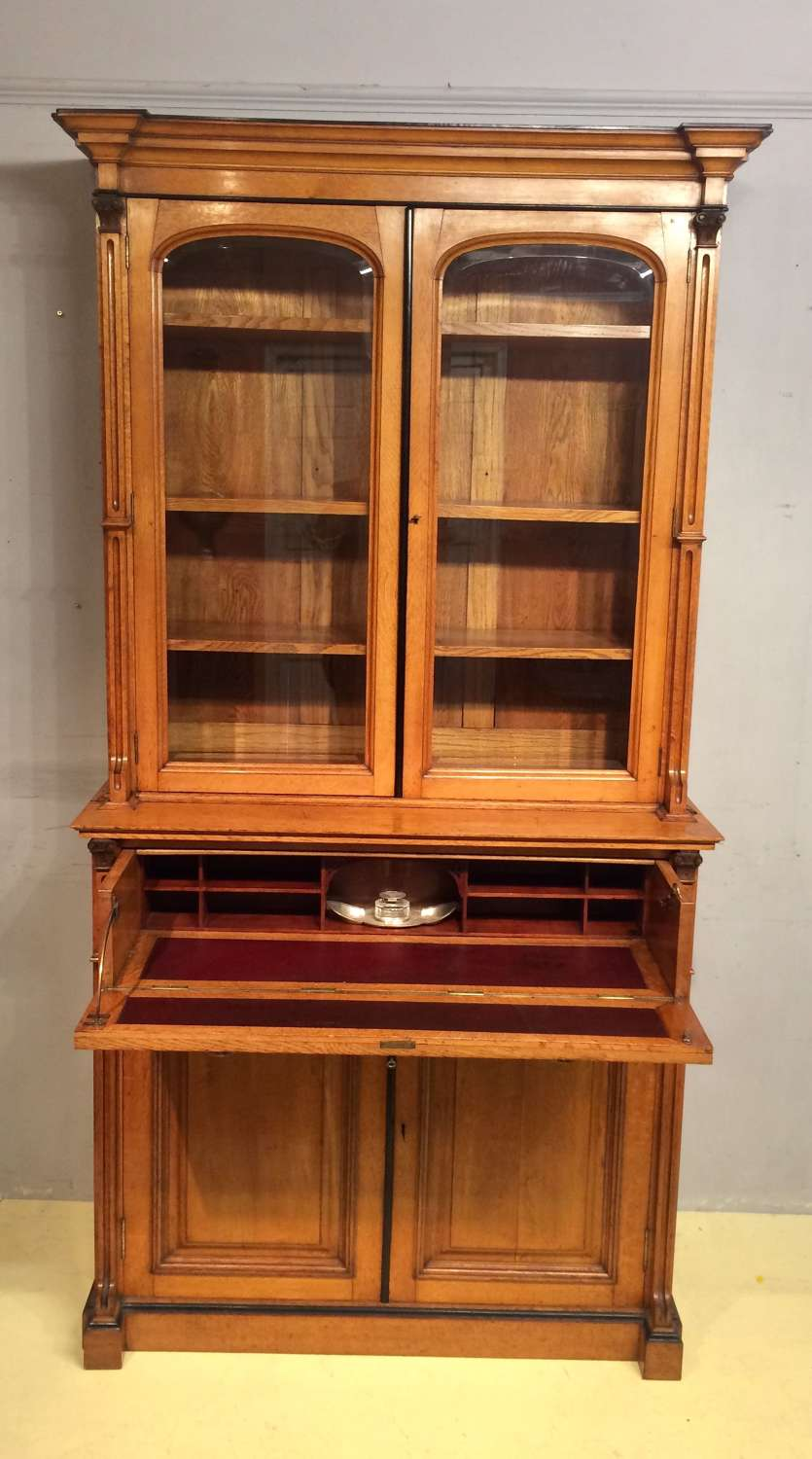 19th century pale oak secretaire bookcase.