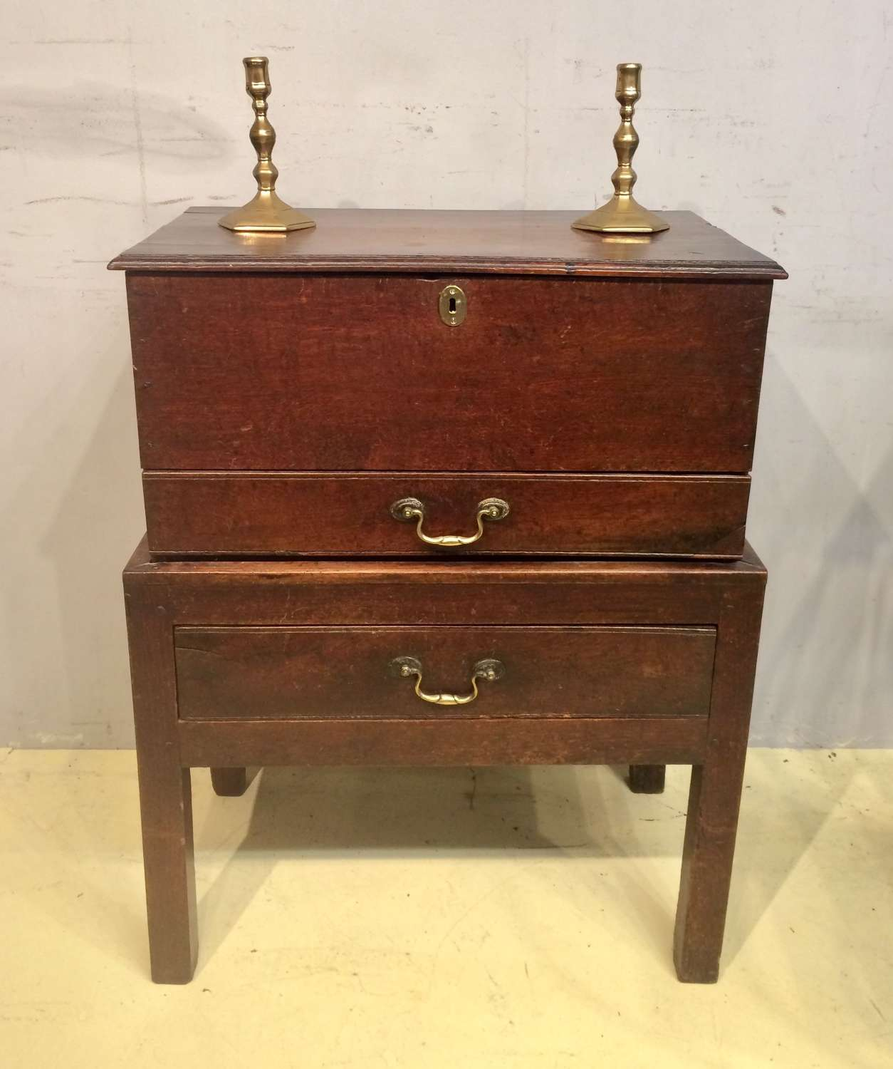 18th century Welsh oak chest on stand.