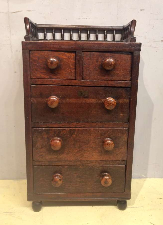 19th century Welsh miniature oak chest of drawers.