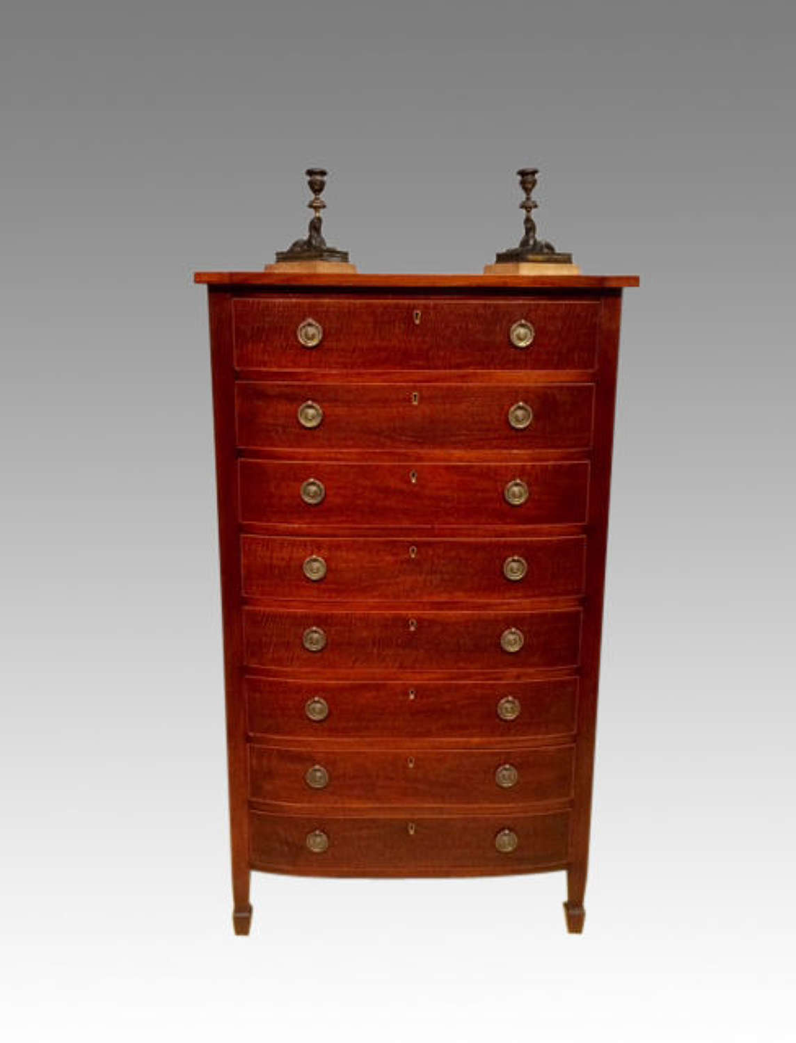 19th century mahogany  bow fronted chest of drawers