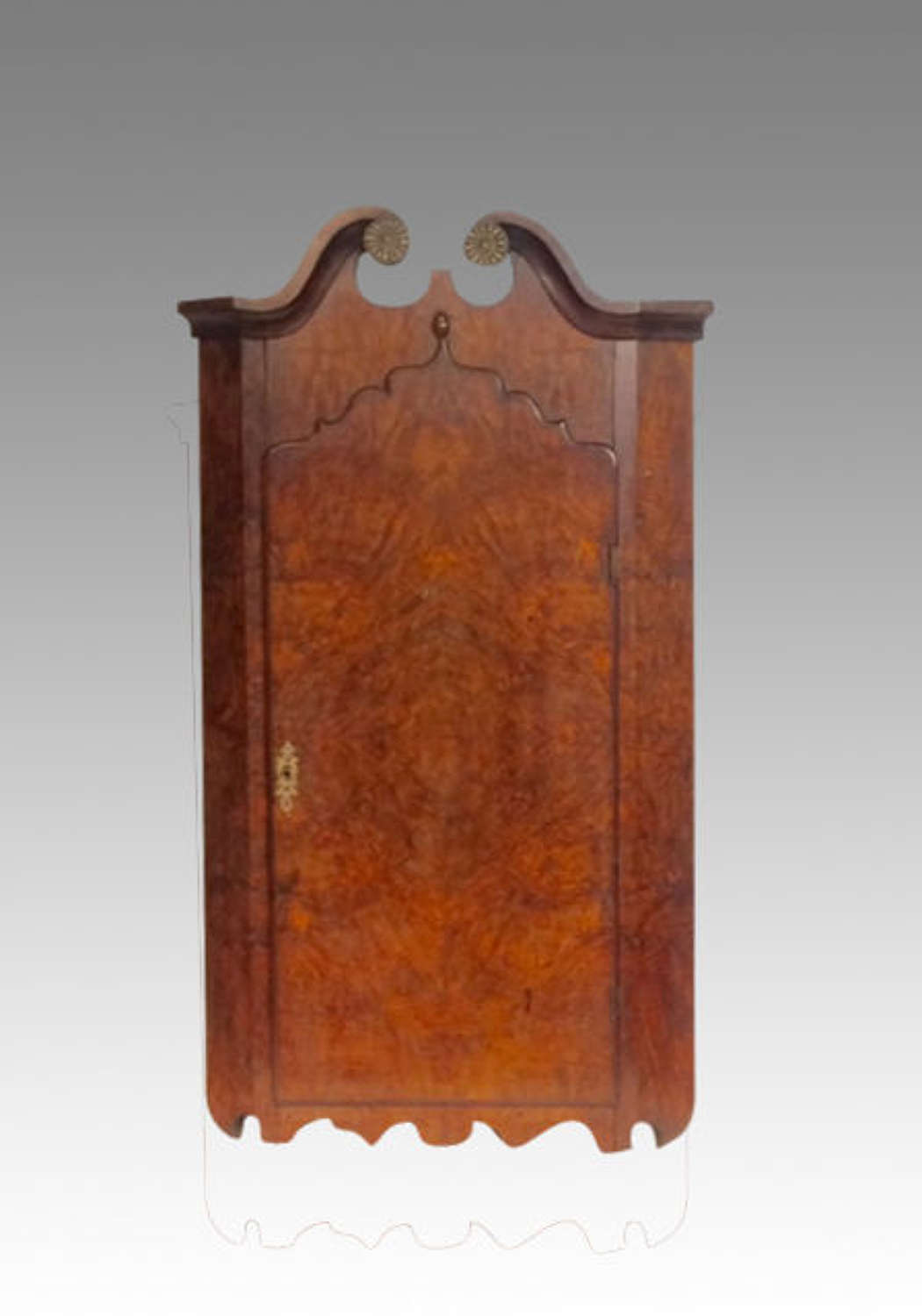 Georgian burr walnut hanging corner cupboard.