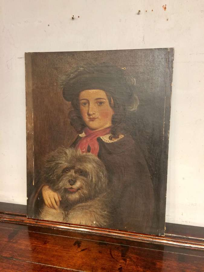 Victorian oil painting on canvas of girl with dog.
