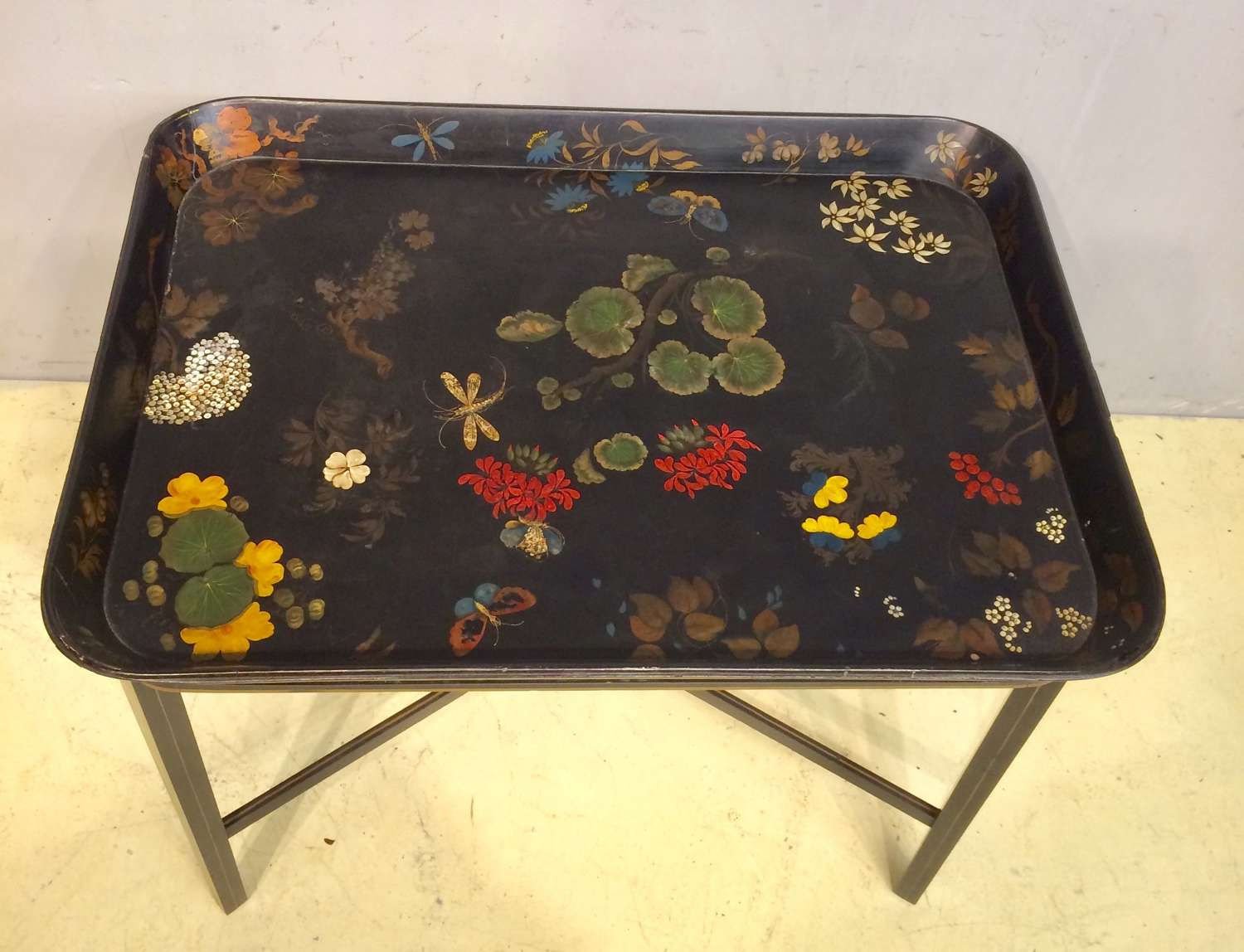 19th century papier mache tray on stand.