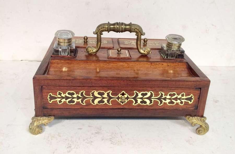 Regency rosewood brass inlaid inkstand.