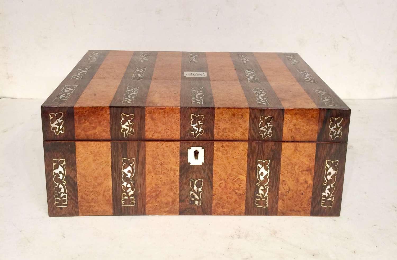 19th century rosewood and amboyna work box.