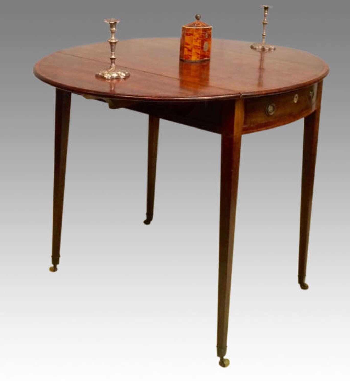 18th century Hepplewhite oval mahogany pembroke table.