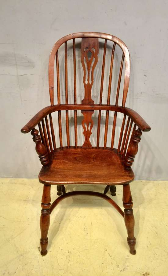 19th century tall back yew wood windsor armchair.