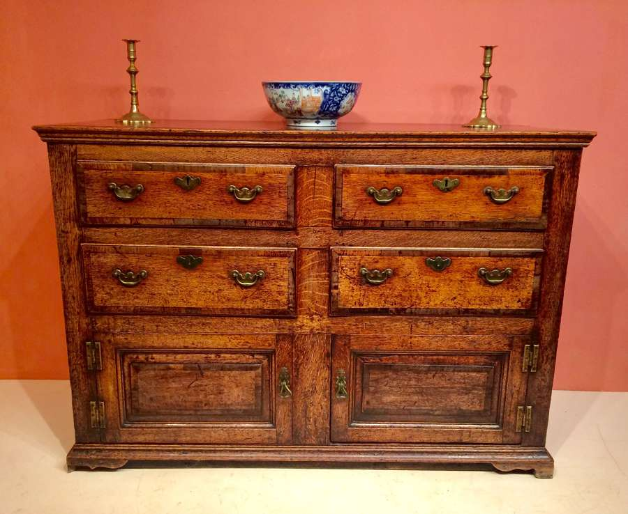 18th century antique oak dresser base.