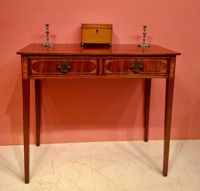 19th century inlaid mahogany writing table.