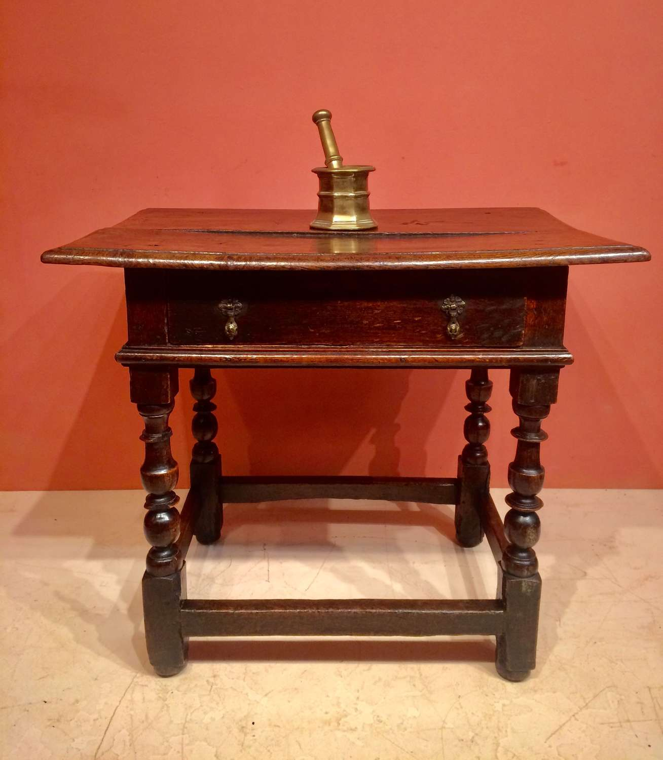 William and Mary oak sidetable.