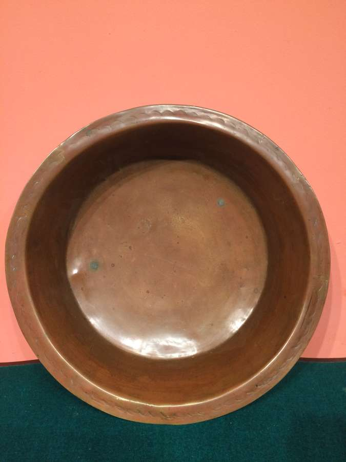 18th century brass dairy bowl.