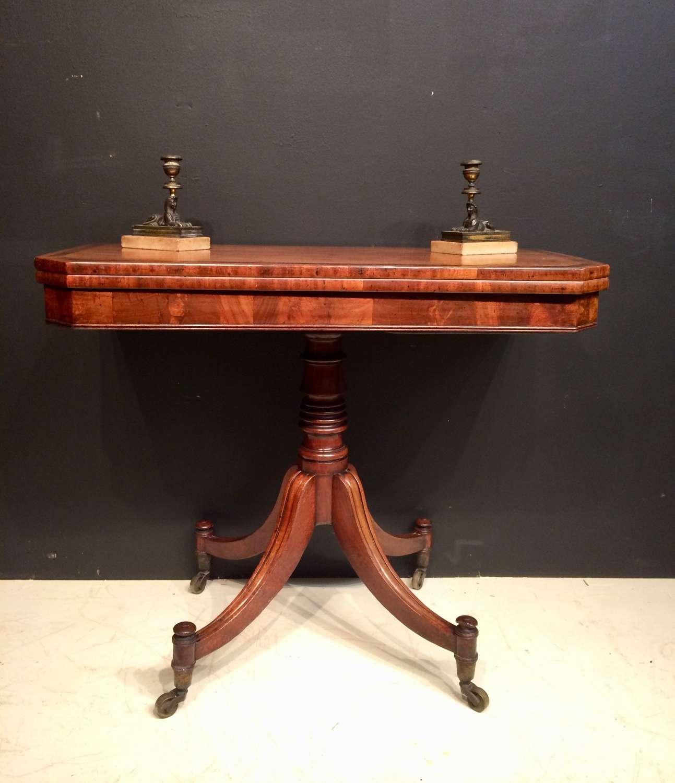 Regency mahogany fold over tea table.