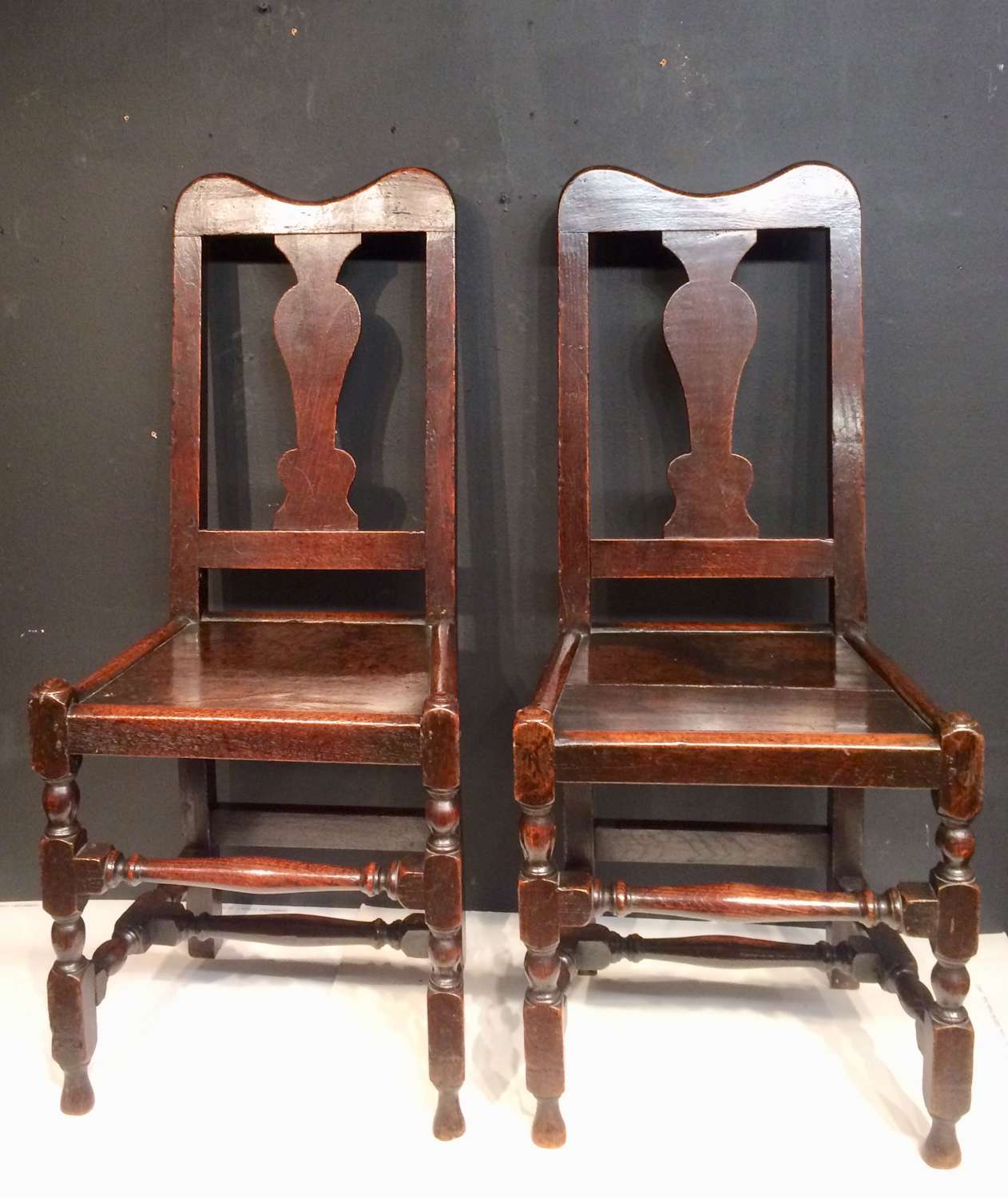 Pair of Queen Anne oak side chairs.