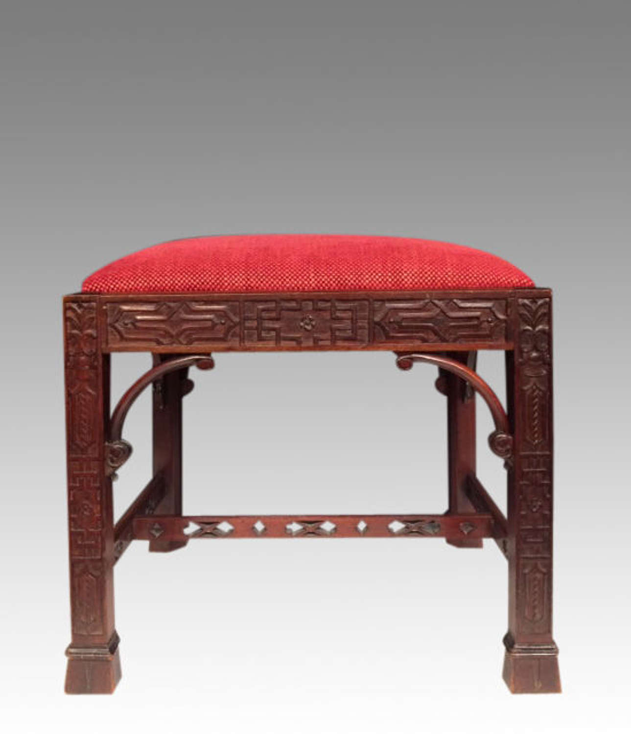 Chinese Chippendale mahogany dressing stool.