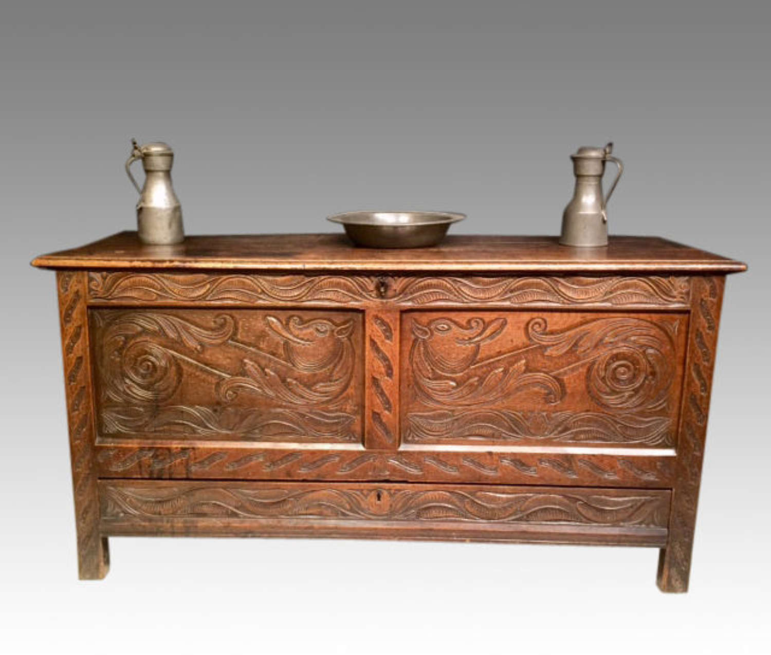 17th century carved oak coffer.