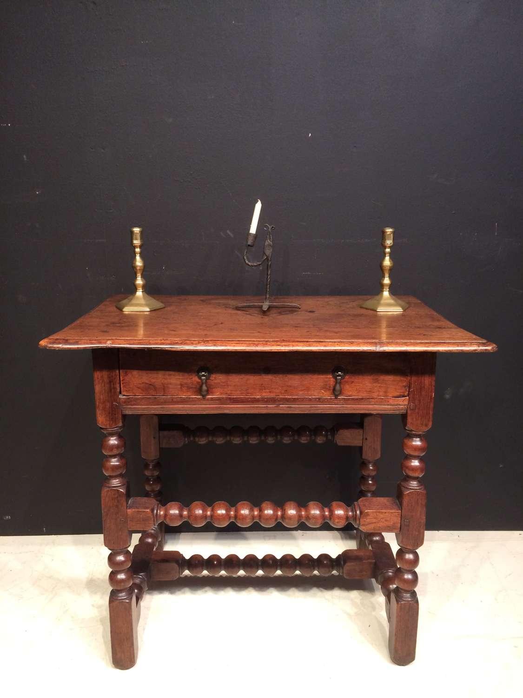Charles II oak bobbin turned side table.
