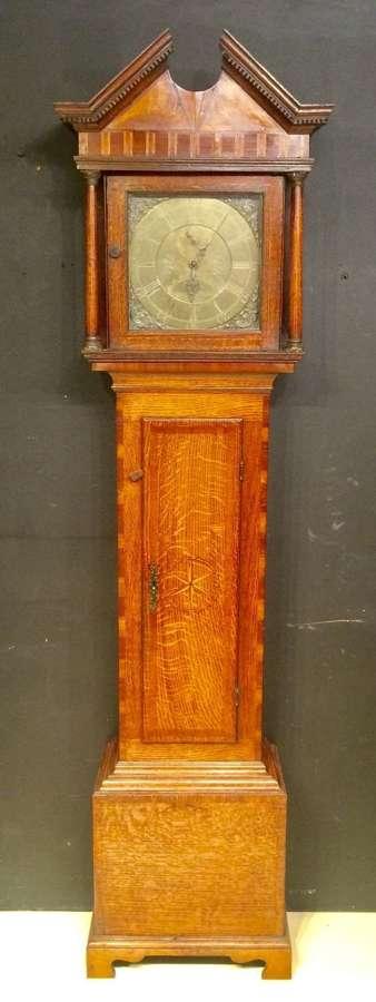 Geo III oak longcase clock by Richard Harris of Wellington.