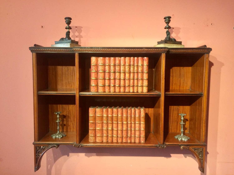Set of  antique satinwood hanging shelves