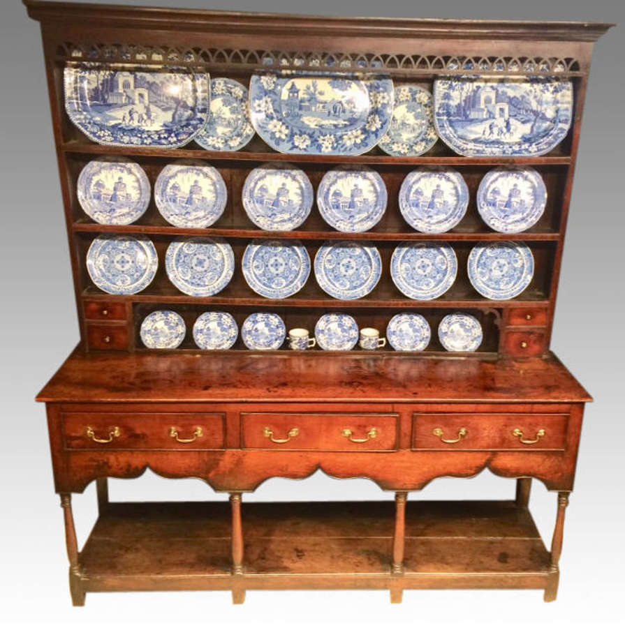 Montgomeryshire oak dresser and shelves.