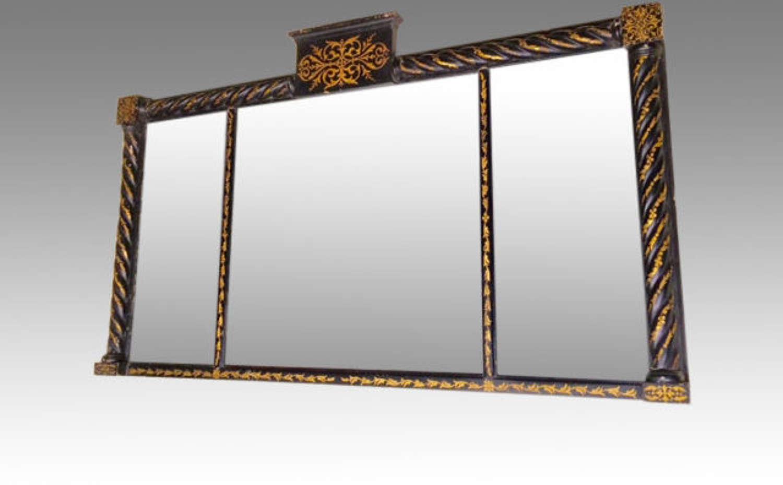 Regency black and gilt overmantel/landscape mirror.