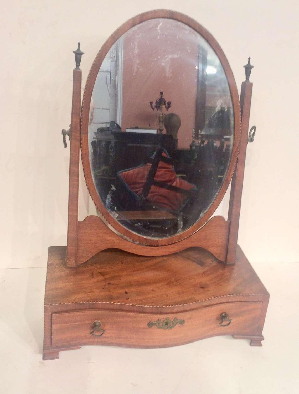 Small Georgian mahogany dressing table mirror.