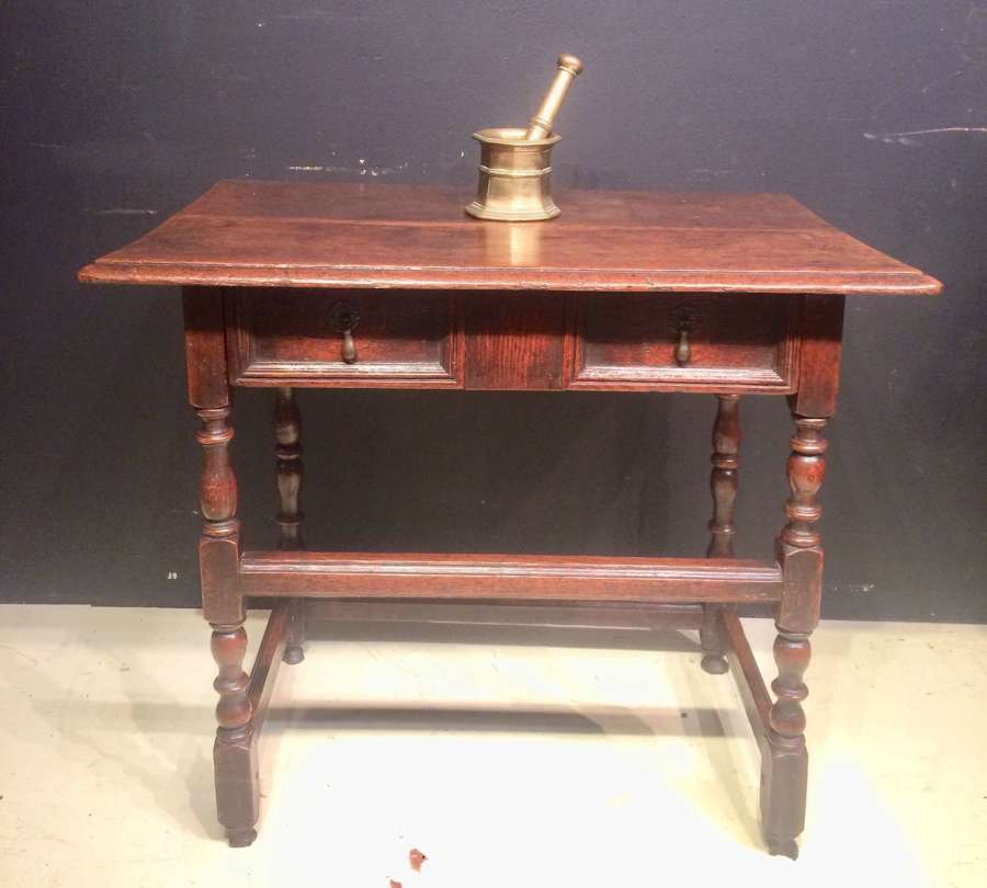 William and Mary oak side table.