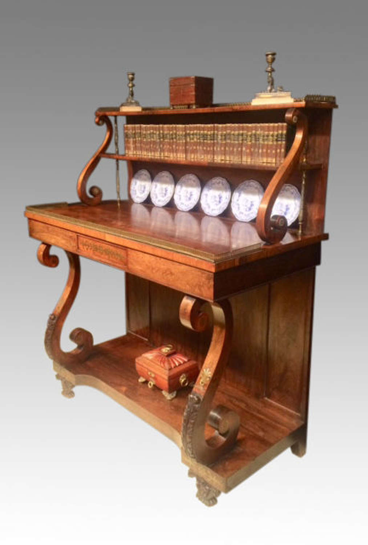 Irish Regency brass inlaid rosewood console table.