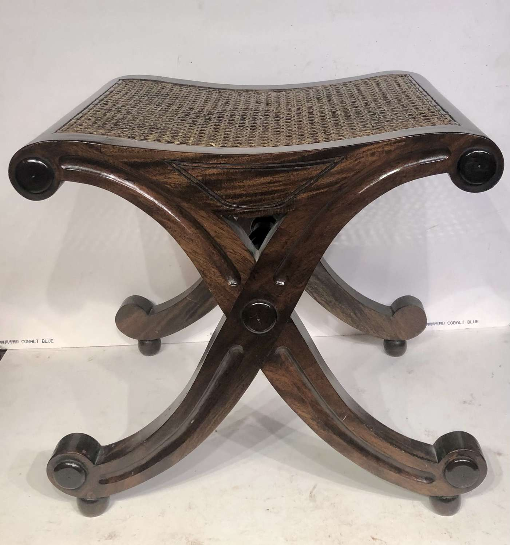 Mahogany X leg dressing stool.
